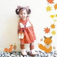 2016 Retail Spring Sweet Toddler Baby Girls Fox Style Dress Ruffles Casual Fashion Dresses Orange Easter