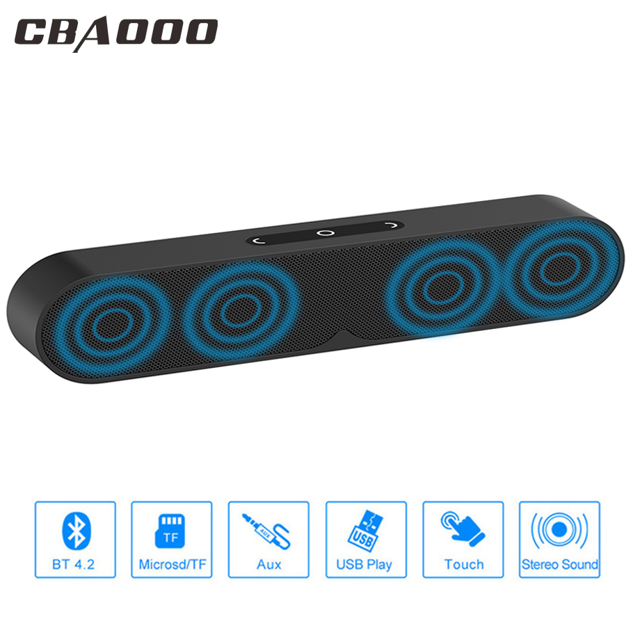 CBAOOO F1 Plus Bluetooth Speaker Portable Wireless Computer Speaker Sound System 3D Stereo Bass Outdoor Loudspeaker for TF,AUX