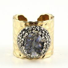 New Arrival! Rhinestone and Crystals Pave Setting Adjustable Rings ! 5 Pieces