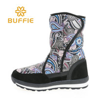Fashion female mid culf snow boots winter women shoes good looking flower printing fabric buckle fast put on black outsole big