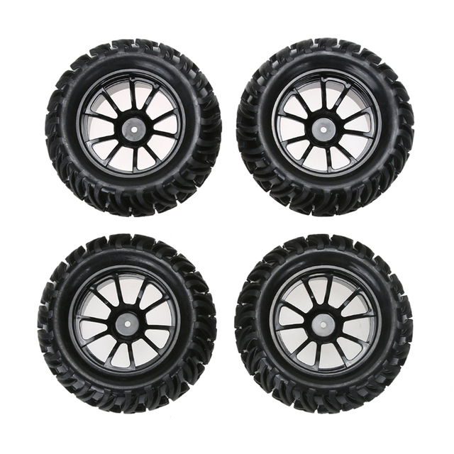 4pcs plastic wheel rim and rubber tires for 1 10 monster truck rc