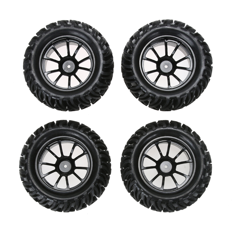 New 4PCS Plastic Wheel Rim and Rubber Tires for 1:10 Monster Truck RC Car 12mm Hub 4pcs 1 9 rubber tires