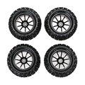 Nova 4 pcs plastic da borda da roda e pneus de borracha para hsp 1:10 monster truck carro rc 12mm hub
