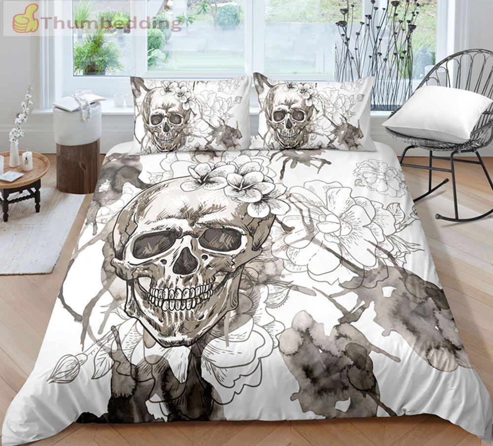 Thumbedding Dropship White Flower Skull Bedding Set Twin Full Queen King 3D Printed High Quality Unique Designed Duvet Cover