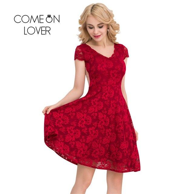 663571d500a I1048 Comeonlover Floral Lace Skater Dresses Valentine Day Gift Vestido De  Renda Big Size Vintage Summer