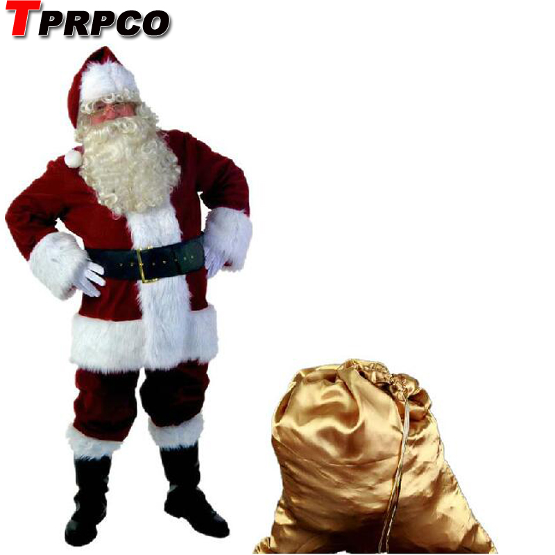 9pcs/set Christmas Costumes Santa Claus for Adults Red Christmas Clothes Santa Claus Costume Luxury Suit+Hat+Bear NL417