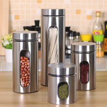 Stainless Steel Sealed Food Storage Jars With Airtight Lid Glass Cans For Tea Coffee Spices Dried Nuts Sugar Container Home Box