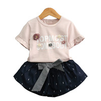 2018 New Two Peices Summer Toddler Baby Girl short sleeved Kids Striped T Shirt + Tutu Shorts Set Girls Clothing Sets CC621