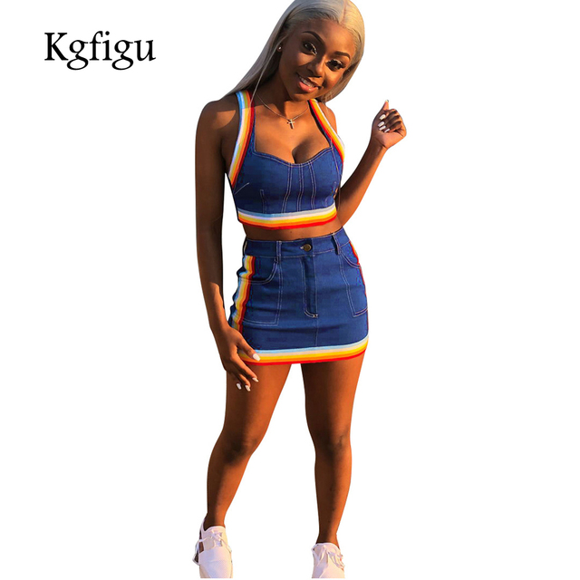 KGFIGU Two Piece Set 2018 Summer women crop tops and Mini Skirts Sets 2pcs Blue Denim outfits 2 piece set women matching sets