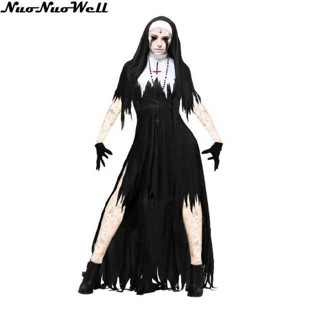 Halloween Nun Costume Cosplay Donne Nero Vampire Fantasy Dress Terrore  Sorella Del Partito di Travestimento Femminile 014e6f1177d1