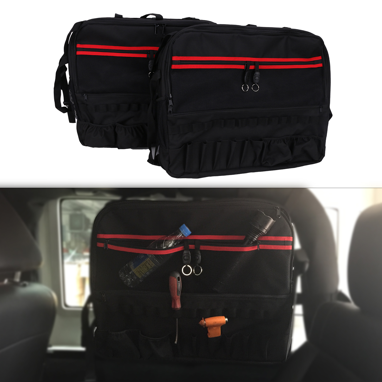 2x Roll Bar Storage Bag Luggage For Jeep Wrangler JK 2 Door 2007-2017 Car Interior Tool Kits Bottle Drink Phone Bags #CE059 2 pcs black car styling parts front rear grab bar handles for jeep wrangler jk 2007 2017 new fashion upgraded