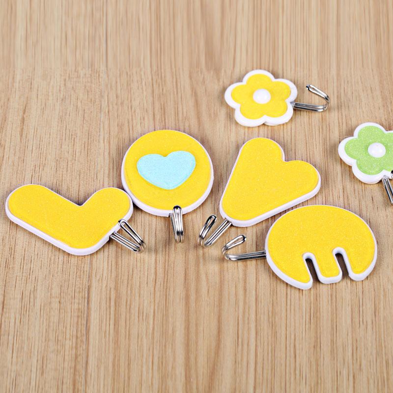 4pcs Korean candy LOVE shape decorative wall hooks hangers key ...