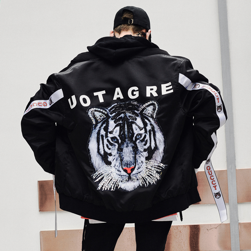 Tiger Print Jacket Men Hiphop Baseball Collar Black Color Autumn Winter Streetwear XXL