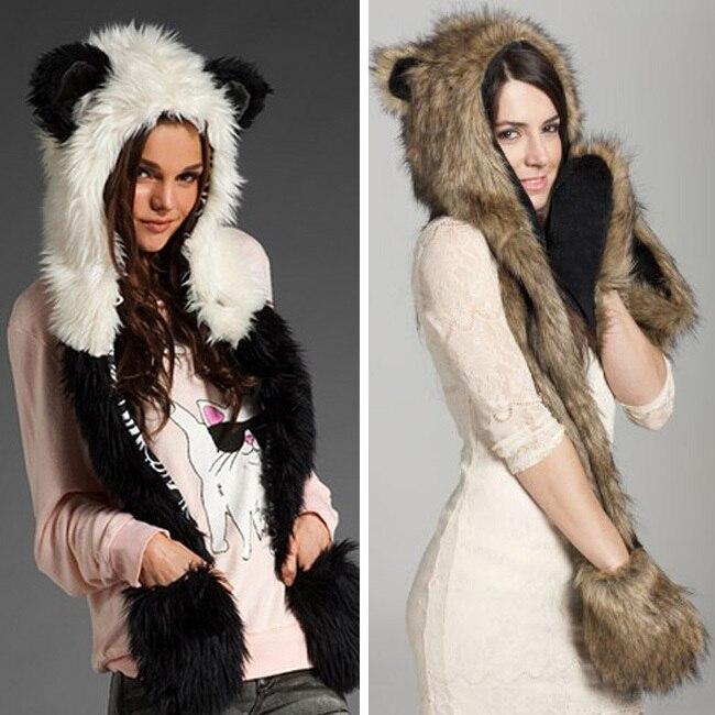 Hot Sale Warm Animal Faux Fur Hat Scarf Fluffy Plush Cap Ear Hood Shawl Glove Unisex Christmas Gift Free Shipping