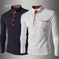 New Men Solid Polo Shirt Quality Brand Polka Dot Slim Fit Long Sleeve Casual  Mens Polo Shirt 3 colors