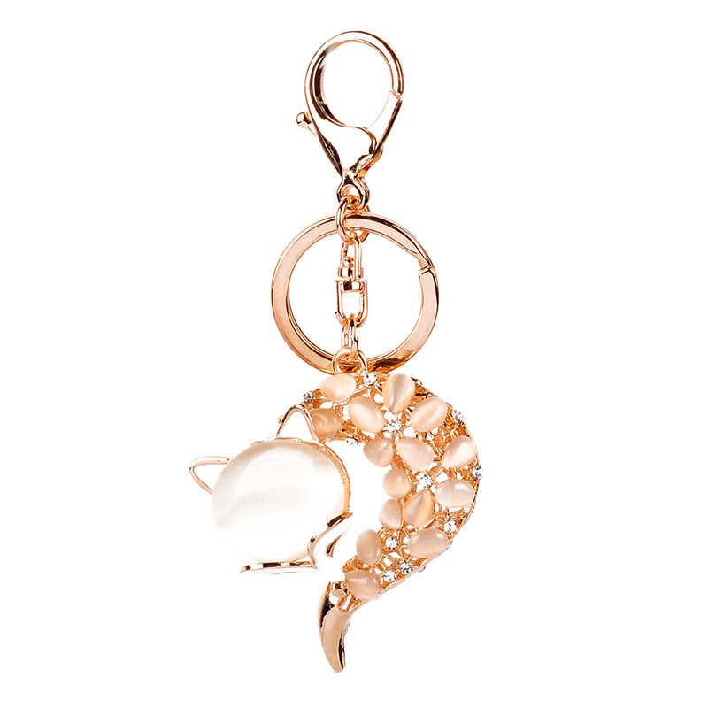 Gota de óleo Gotejamento liga de alta Qualidade Chaveiro Chaveiro Esmalte raposa bonito opal bead rhinestone contas de cristal KeyChain Anel Chave inoxidável