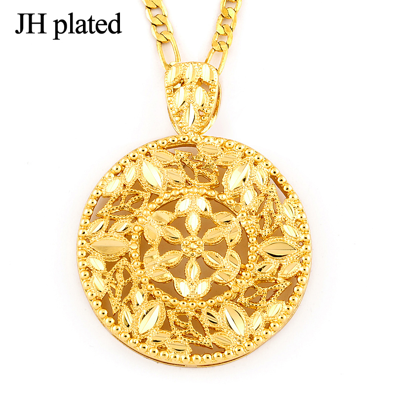 JHplated Womens Ethiopian Style Pendant Necklace Chain Gold color Necklace Jewelry for Women African Pretty Pendant Eritrea