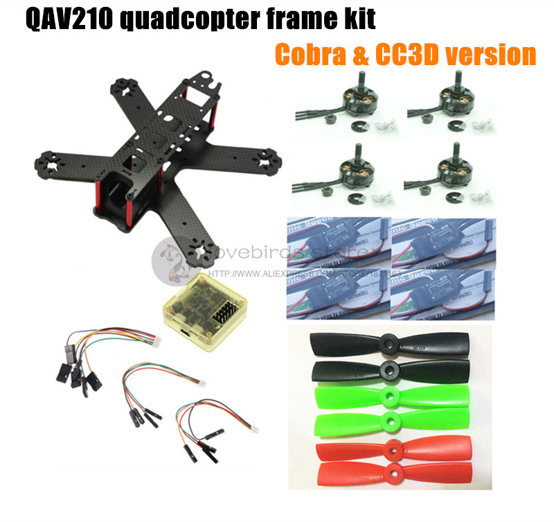 DIY FPV mini drone QAV210 quadcopter frame kit pure carbon frame + cobra 2204 2300KV motor + cobra 12A ESC + CC3D / NAZE32 10DOF diy mini fpv 250 racing quadcopter carbon fiber frame run with 4s kit cc3d emax mt2204 ii 2300kv dragonfly 12a esc opto