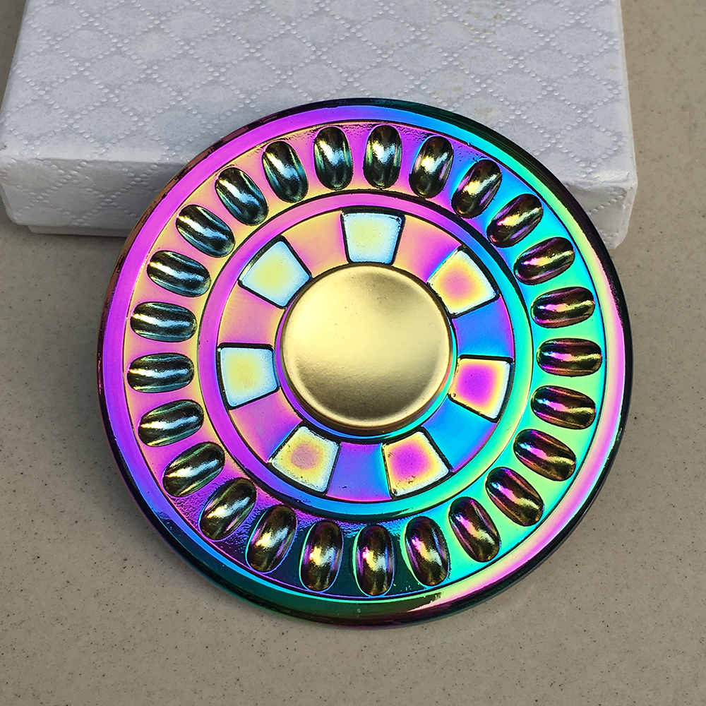 Colorful Round Fidget Spinner Metal EDC Hand Finger Spinner for Autism and ADHD Focus Anxiety Relief Stress Toy Gift  colorful round fire wheel edc fidget spinner metal hand spinner for autism and adhd relief focus anxiety stress gift finger toys