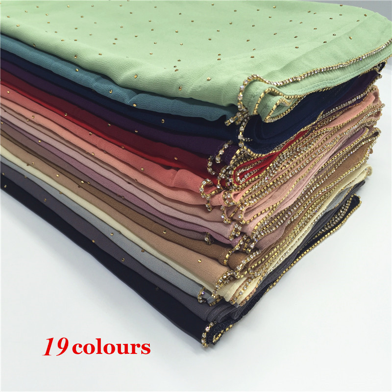 New design high quality plain bubble beads chiffon solid color shawls hijab muslim luxury scarves scarf