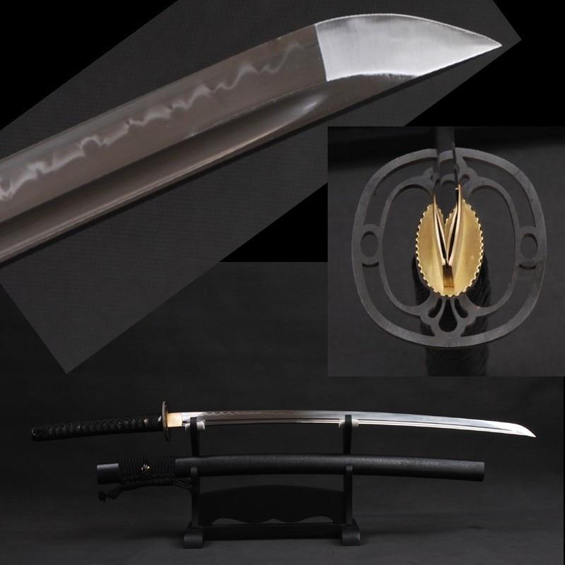 Clay Trempé Japonais Vintage Samurai Épée À La Main Katana Pleine Saveur 1095 En Acier Au Carbone Brillant Lame Réel Hamon Forte Bord