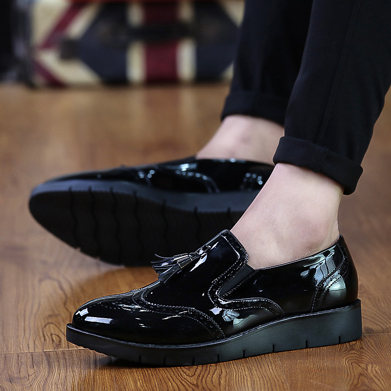Hair stylist shoes men England Bullock carved shoes thick bottom increase nightclub tide shoes tassel small