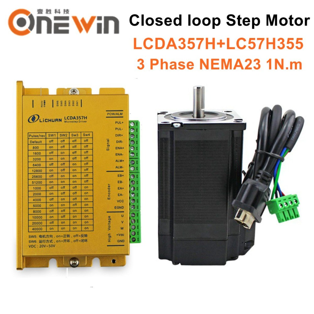 3phase 1NM NEMA23 LCDA357H+LC57H355 closed loop servo stepper motor driver kit with encoder 7A 1200rpm3phase 1NM NEMA23 LCDA357H+LC57H355 closed loop servo stepper motor driver kit with encoder 7A 1200rpm