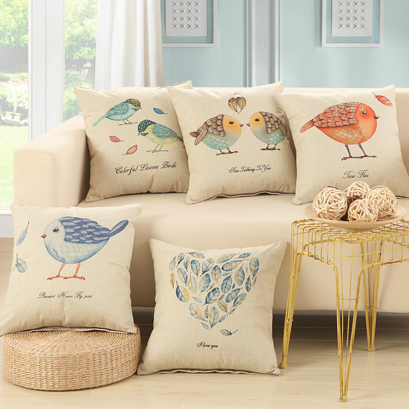 BZ003 Birds Cushions Without Insert American Vintage Lucky Design Sofa  Decorative Throw Pillow Office Sofa Cuscino