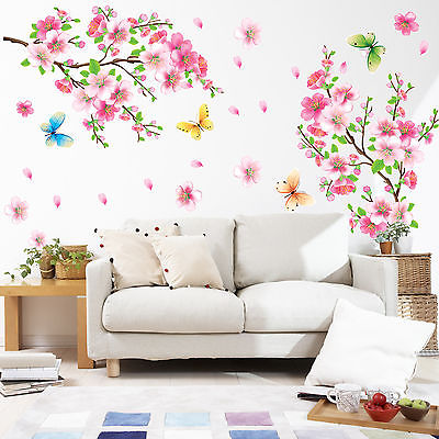 large size cherry blossom flower wall stickers waterproof living