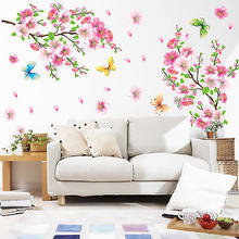 Large Size Cherry Blossom flower Wall Stickers Waterproof living room bedroom Wall decals 739 Decors Murals poster(China)