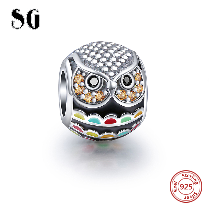 100% High Quality Charm 925 silver original owl beads Fit Authentic pandora Charms Pendant Beads sterling-silver-jewelry Gift
