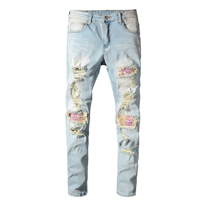 Sokotoo Men's Patchwork Bandanna Paisley Printed Biker Jeans Light Blue Holes Ripped Skinny Stretch Denim Pants Trousers