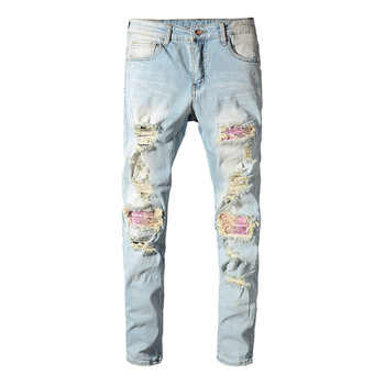 Sokotoo Men's patchwork bandanna paisley printed biker jeans Light blue holes ripped skinny stretch denim pants Trousers - DISCOUNT ITEM  30% OFF All Category