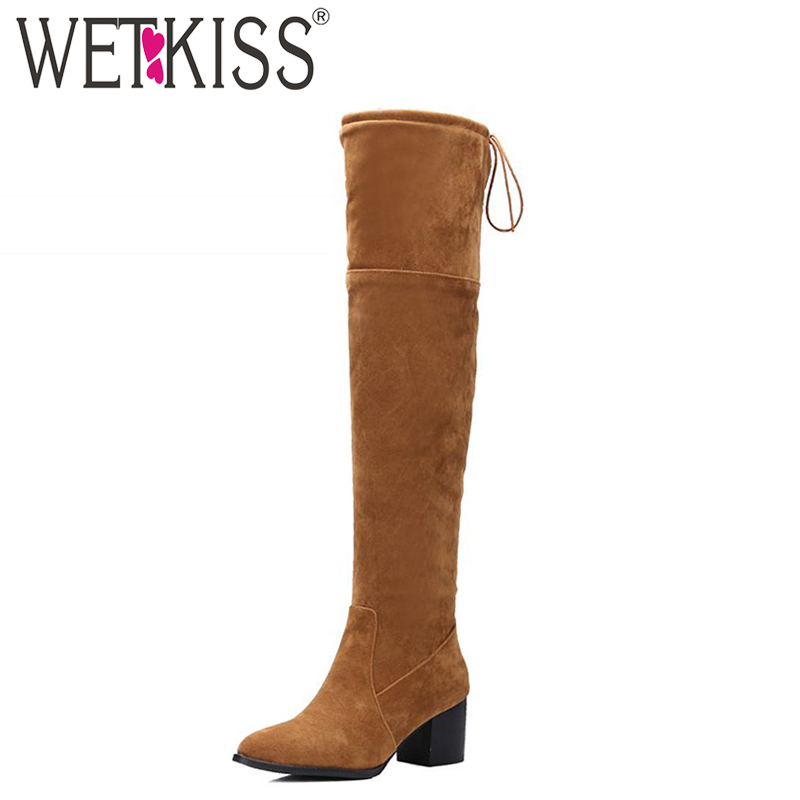 WETKISS Big Size 32-48 Hot Sale 2016 Over The Knee Women Boots Lace Up Fall Winter Boots Platform Thick Heels Female Footwear wetkiss big size 34 43 fashion lace up platform knee boots add fur retro thick high heels skid proof fall winter shoes woman