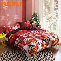 Svetanya Pillowcase+Comforter Cover Bedlinen Christmas Printing Bedding Set (no Sheet) Single Full Queen King Size Red color