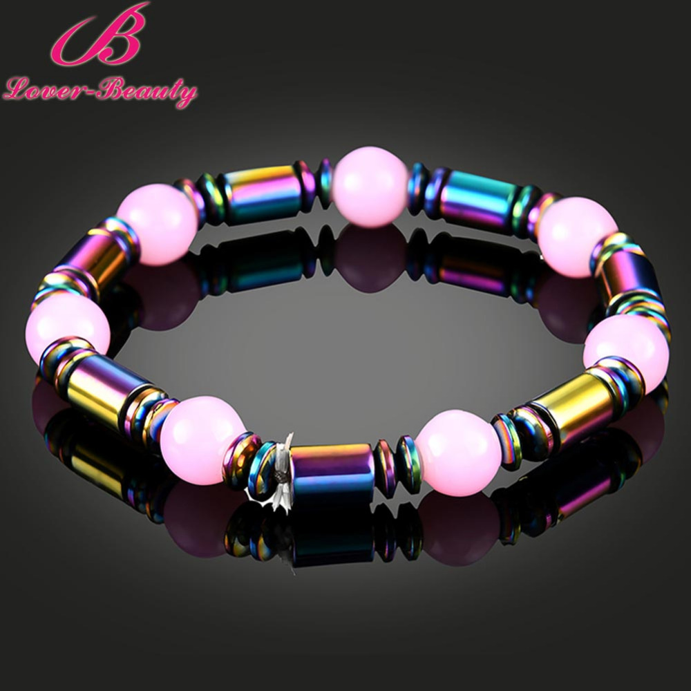 Lover Beauty Pink Beads magnetic bracelet Colorful Magnet Health care Weight Loss therapy Bracelet For Girls women -E