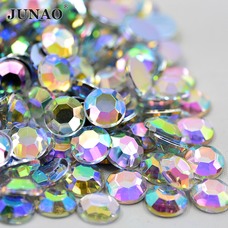 JUNAO 2 6 8 10 18 20mm Crystal AB Rhinestones Appliques Flatback Acrylic Gems Round Clear Strass Crystals Stones For Dress