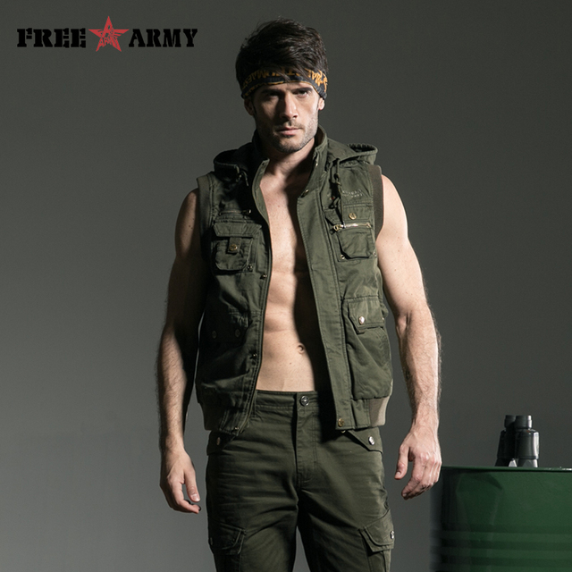 New Arrival Men Casual Vests Plus Size Male Big Size Multi-Pockets Waistcoats Army green Outdoors Vest MS-6080A