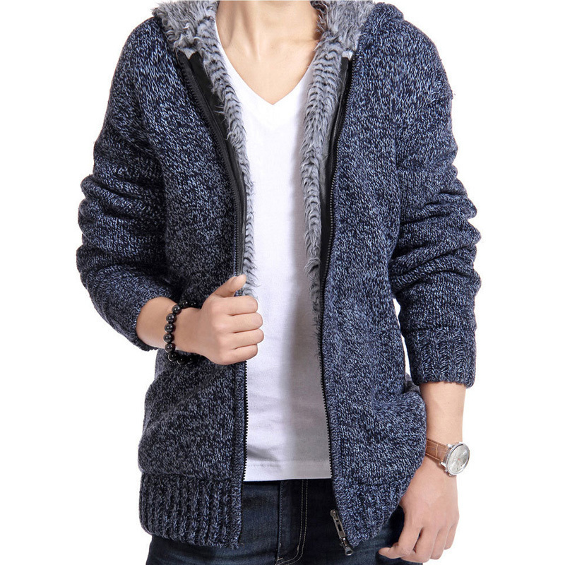 2019 New Mens Sweatercoat Winter Warm Thick Sweater Jacket Male Knitted Hooded Sweatershirt Casual Velvet Fur Sweater Coats