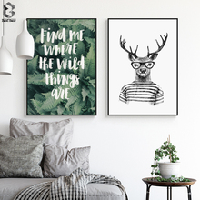 Elk Animal Posters and Prints Canvas Art Painting Fresh Leaves Wall Art Nursery Decorative Picture Nordic Style Kids Decoration modern style scenery posters canvas art painting wall art nursery decorative picture nordic style kids deco
