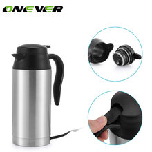 Onever 12 V 750 ml Car Auto Adapter heated car kettle Heated Travel Thermos Stainless Steel Cup Heating Kettle Coffee Cup Car(China)