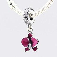 Purple Enamel Orchid Charms 100% 925 Sterling Silver Mixed Cz Pendant Fits Charm Bracelets & Necklaces Diy Fine jewelry PF232
