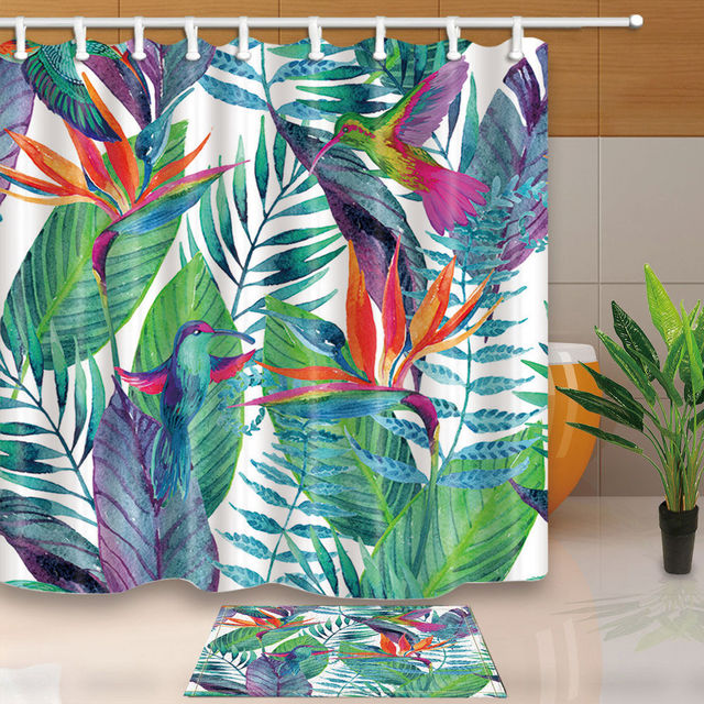 Warm Tour Watercolor Tropical Jungle Polyester Fabric Bathroom Shower Curtain Set With Hooks WTS057
