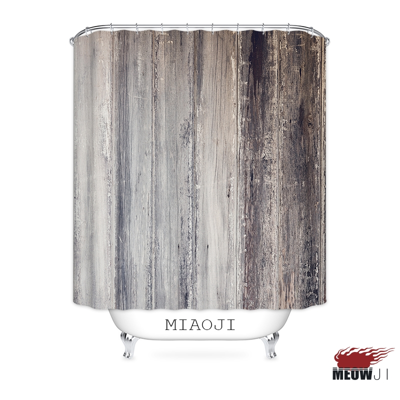 MIAOJI Mottled Grey Wood Grain Pattern Shower Curtain Vintage Printed Polyester Fabric Bathroom Decor With Hooks Free Shipping In Curtains From