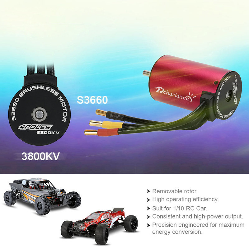 Image 5 - 2019 Portable Suitable Charging S3660 3800KV 4 Poles Brushless Sensorless Motor For 1/8 1/10 RC Car convenient and practical-in Parts & Accessories from Toys & Hobbies