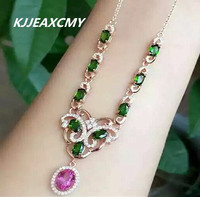 KJJEAXCMY boutique jewelry, Women's natural emerald, diopside necklace, inlaid jewelry wholesale, S925 Sterling Silver