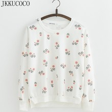 JKKUCOCO Sunflower Cotton hoodies Long Batwing Sleeve O-neck thin loose sweatshirts Women Sweatshirt pullovers Female S M L(China)