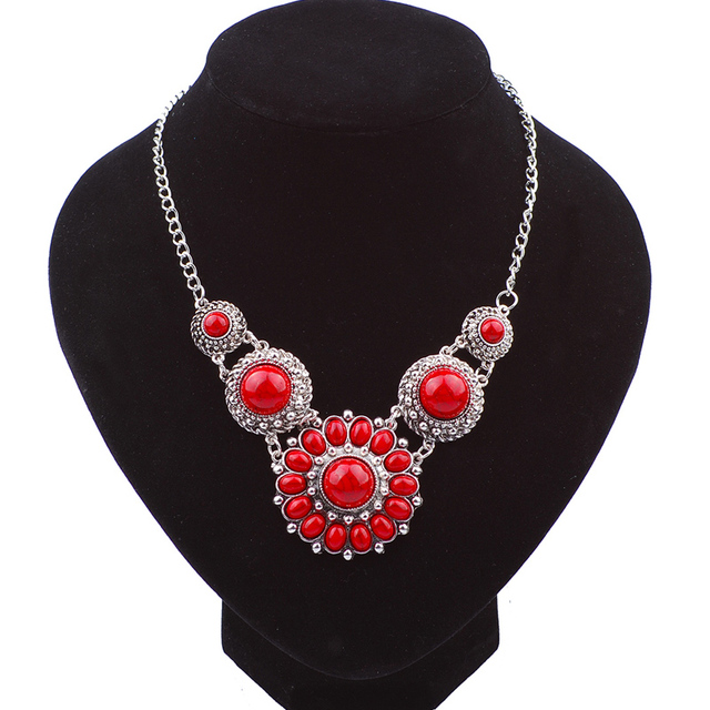 buy filled detail chain necklaces jewelry seed costume deep with red gold bead fashion product jewellery