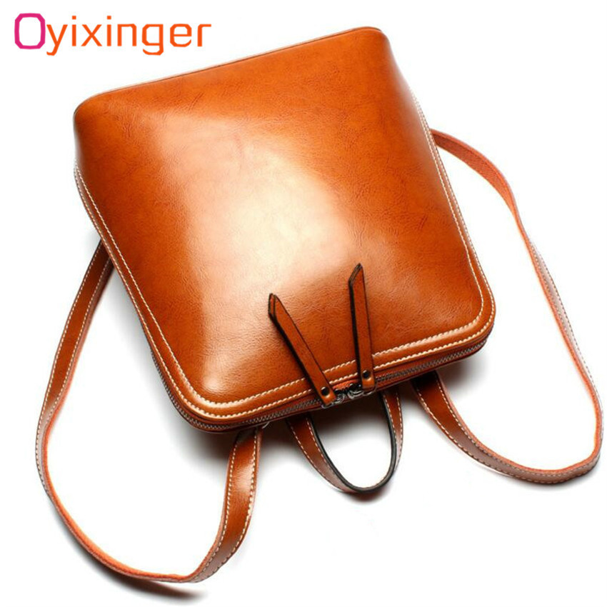 Oyixinger Simple Fashion Genuine Leather Women Backpack Oil Wax Cow Leather Students School Bags For Teenage Girls Shoulder Bag luxury oil wax genuine cow leather women backpack small women s travel bags multifunction korean fashion women shoulder bags