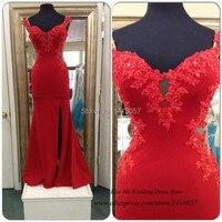 Campione reale economici lunghi abiti da sera in pizzo beads manicotto della protezione 2015 red mermaid prom dress chiffon spacco vestido de baile avondjurk